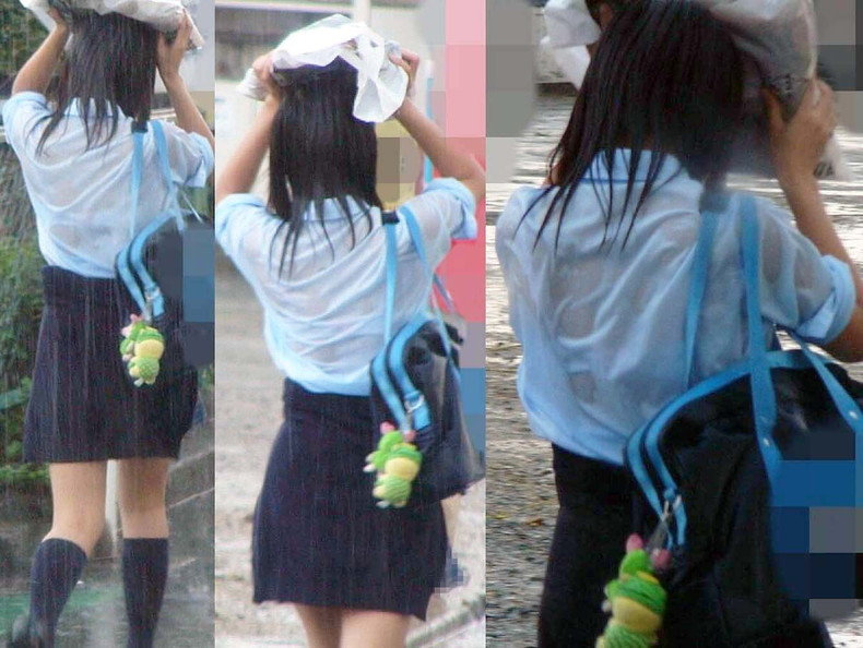 【おっぱい】突然の雨や汗で制服ブラウスが濡れ透け状態になってる素人JK達のおっぱい盗撮画像がが初々しくてエロくて・・【80枚】 55