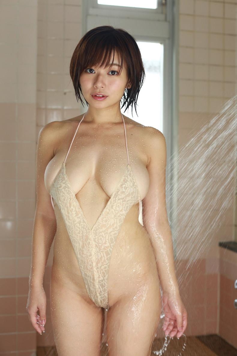 【おっぱい】びしょ濡れになるとほぼ全裸状態!肌色水着・湯葉水着のおっぱい画像集ww【80枚】 70