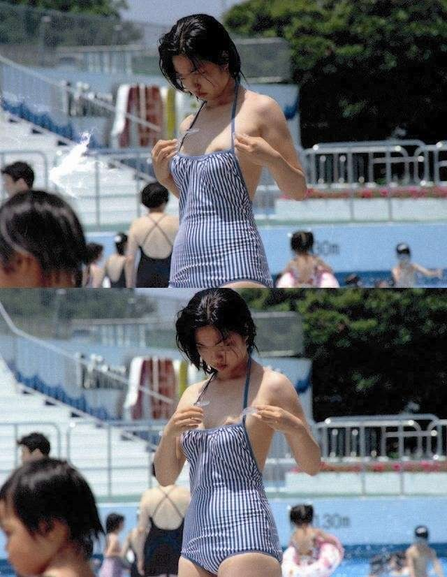 【おっぱい】ビーチやプールで発見した乳首ポロリハプニングしてる女の子を盗撮した水着おっぱい画像集【80枚】 38