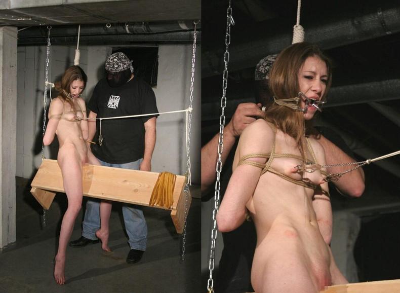 【おっぱい】三角木馬という超絶痛い拷問器具でチクビ勃起させて悶絶しちゃってるM女の三角木馬おっぱい画像集【80枚】 23