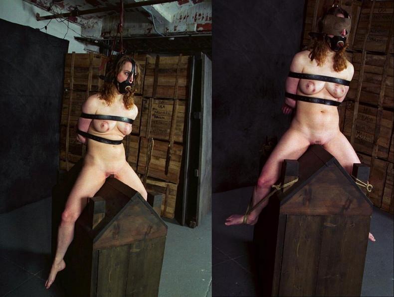 【おっぱい】三角木馬という超絶痛い拷問器具でチクビ勃起させて悶絶しちゃってるM女の三角木馬おっぱい画像集【80枚】 70