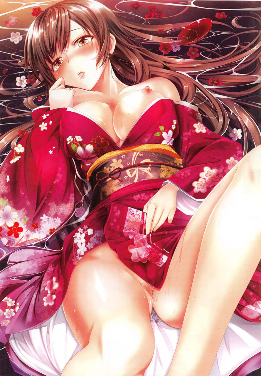 【おっぱい】和服美少女の乱れた胸元から溢れ落ちる巨乳をイラストで楽しむ!【35枚】 12