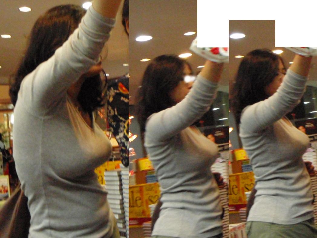 【おっぱい】巨乳が目立ちすぎるファッションで外に出ちゃう素人さんってwww【30枚】 07