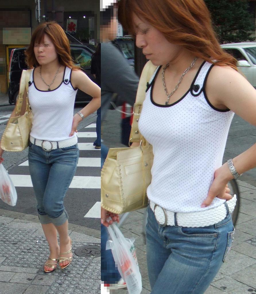 【おっぱい】巨乳が目立ちすぎるファッションで外に出ちゃう素人さんってwww【30枚】 25
