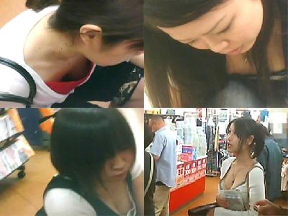 【おっぱい】胸チラは仕方ないけど乳首まで見えているのは考えさせられる素人さんの胸チラ!【30枚】